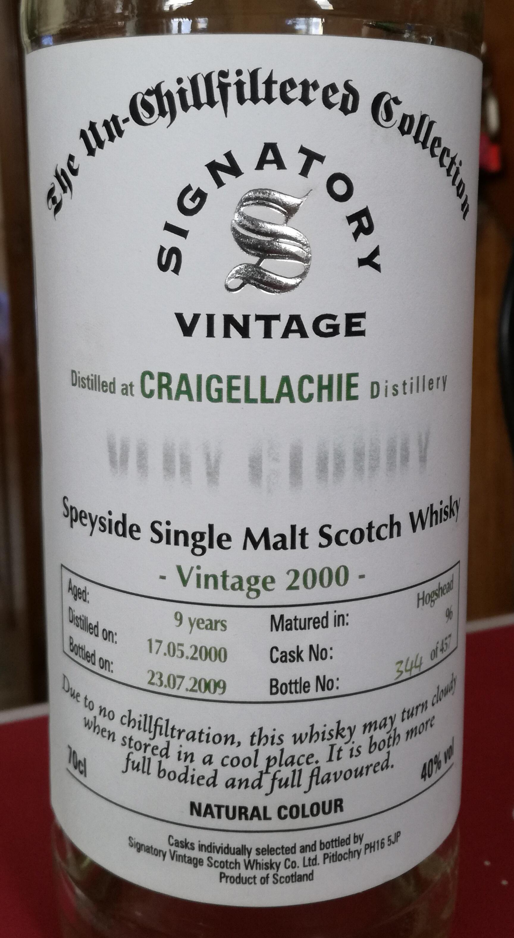 Craigellachie 2000 (Signatory Un-Chillfiltered)